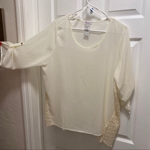Wet Seal Cream Lace Side Blouse